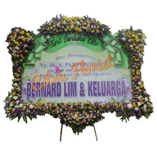 Bunga Papan 3x3 banner letter u mahkota pita sterofoam citra florist DUKA