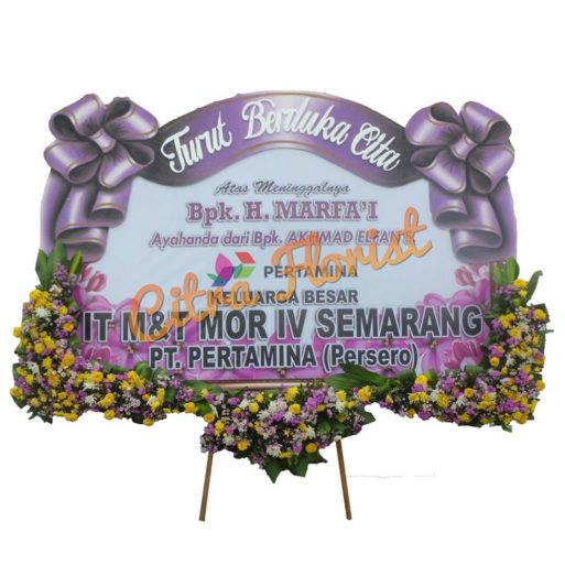 Bunga Papan Banner Duka 2.5 m pita sterofoam bawahan citra florist 2
