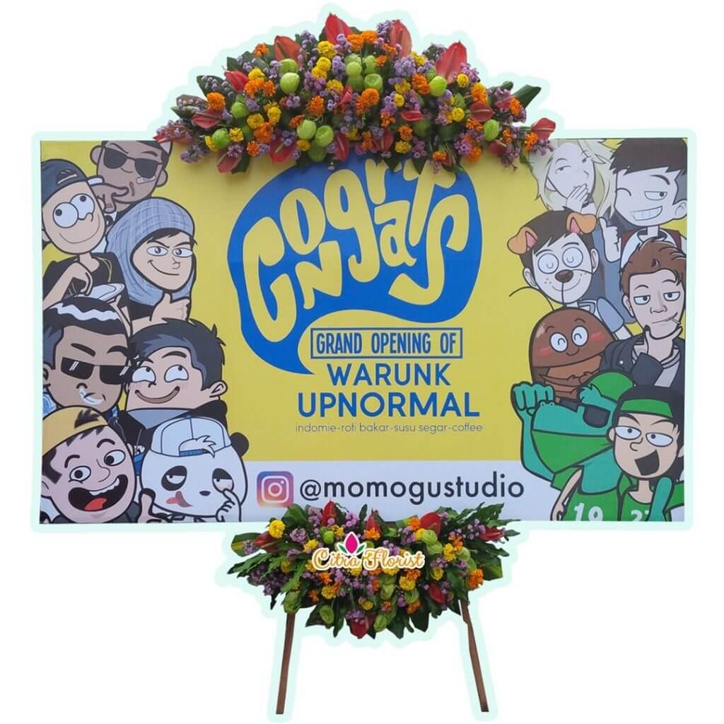 (BKL) Papan Bunga Selamat & Sukses Banner 2.5 Meter, Bunga 2 Titik (Atas & Bawah)
