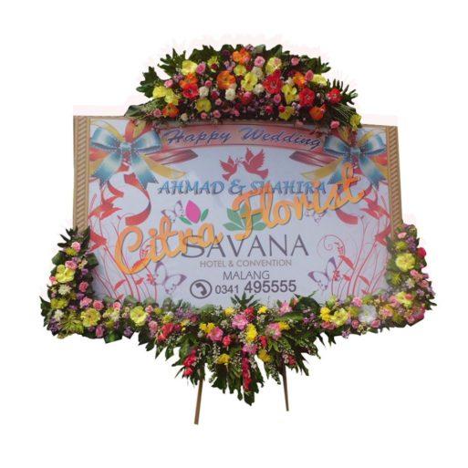 Bunga Papan wedding 1 JUTA banner bawahan mahkota tanpa pita