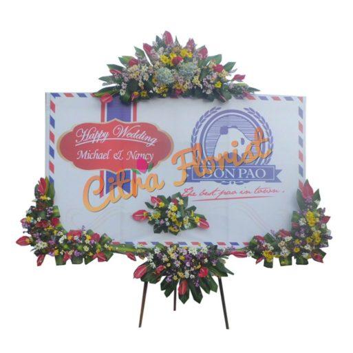 Papan Bunga Banner 4 titik mahkota 1 JUTA Happy Wedding citra florist