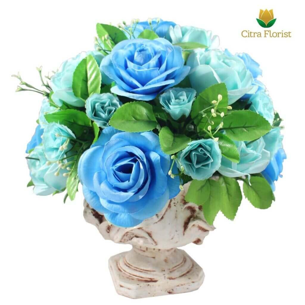 (SBY) Buket Meja Artificial Plastik Mini Blue Roses