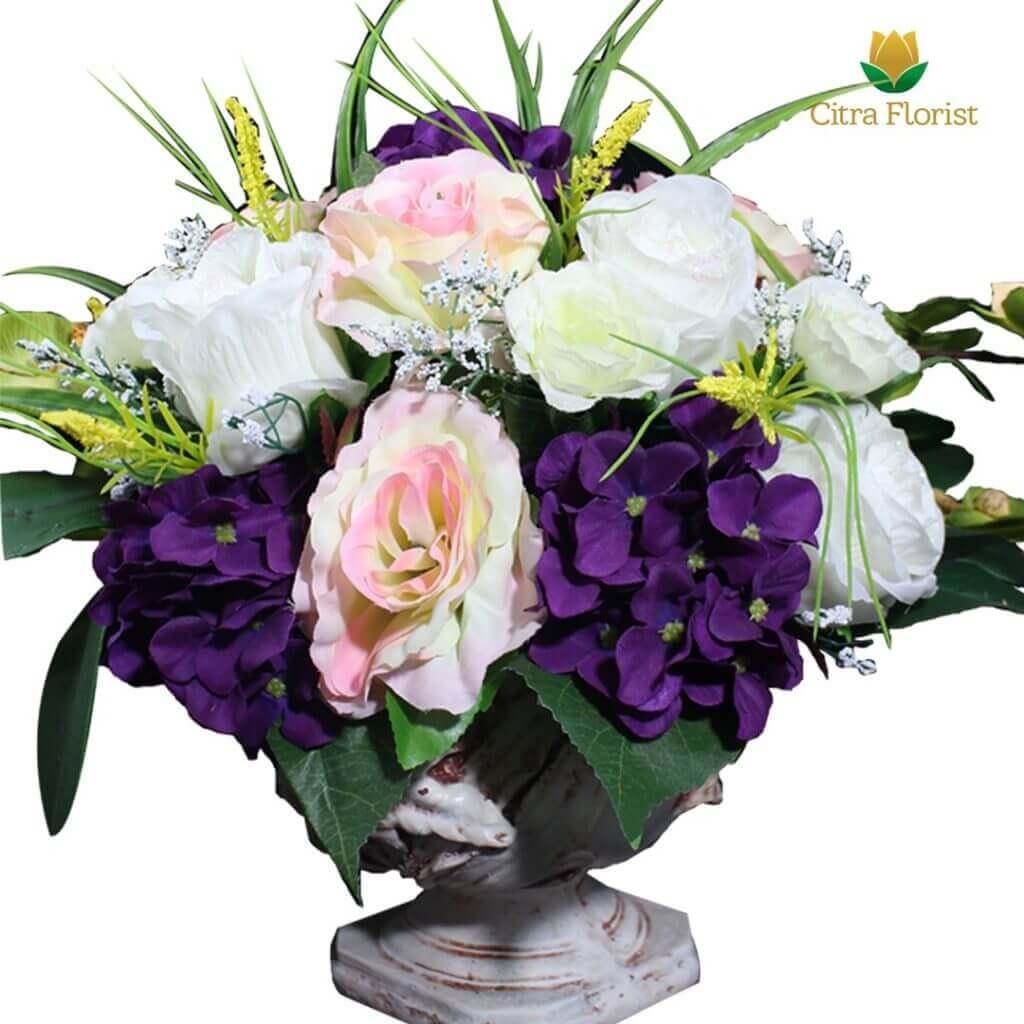 (SBY) Buket Meja Artificial Plastik Mini Roses and Hortensia