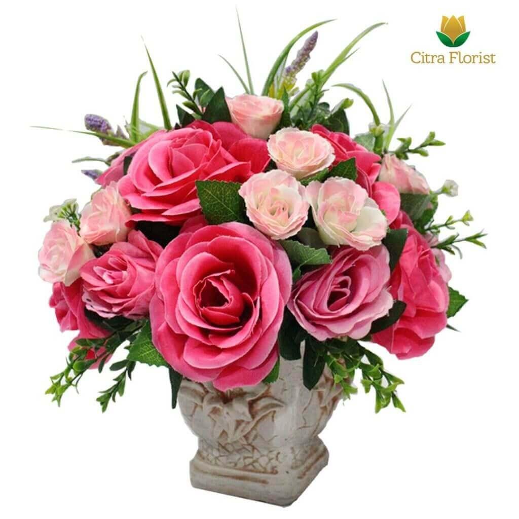 (SBY) Buket Meja Artificial Plastik Mini Pink Roses