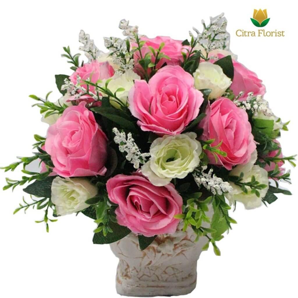 (SBY) Buket Meja Artificial Plastik Mini Pink White Roses