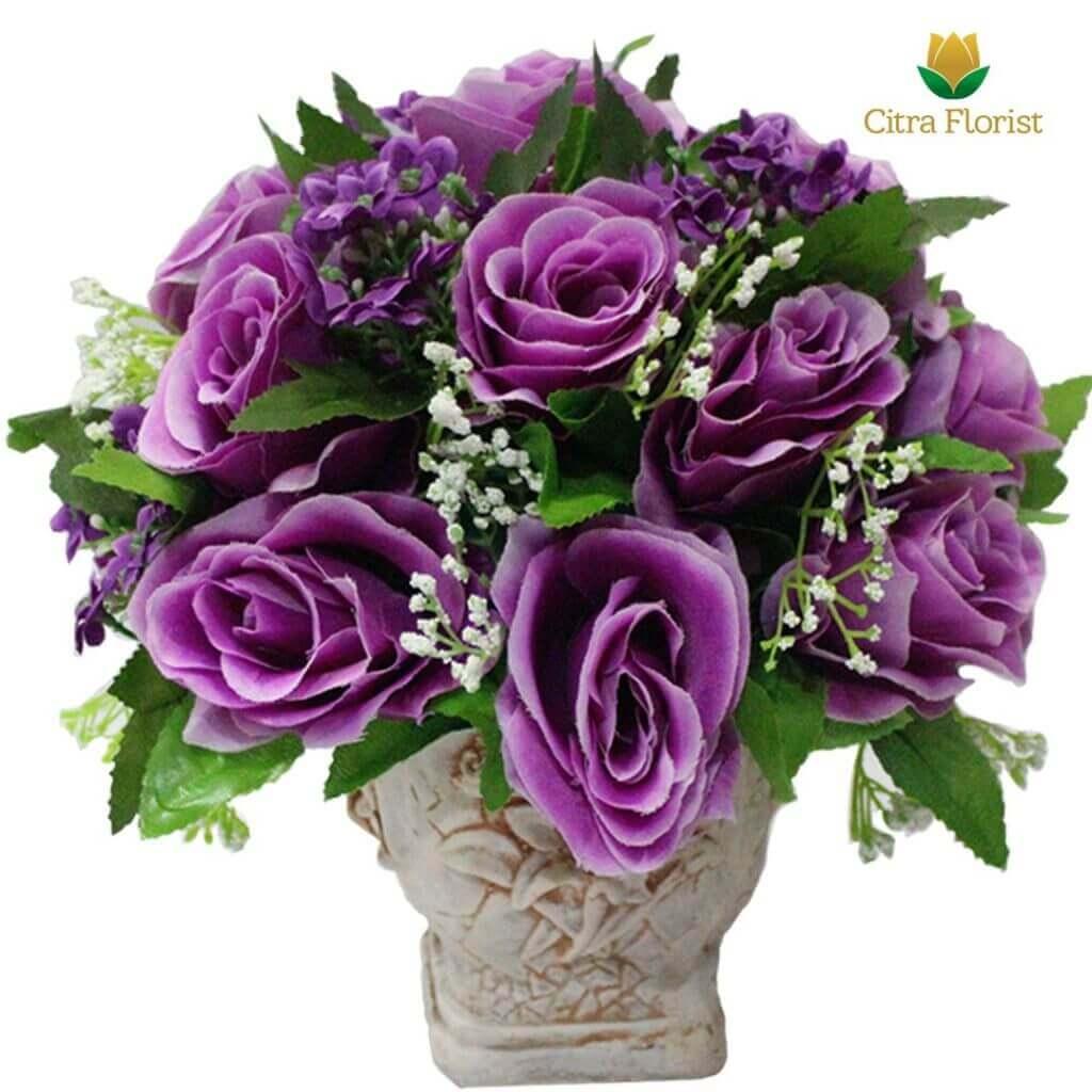 (SBY) Buket Meja Artificial Plastik Mini Purple Roses