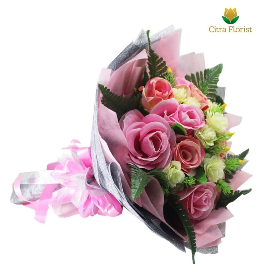 Bouquet Artificial Blossom Pink Roses