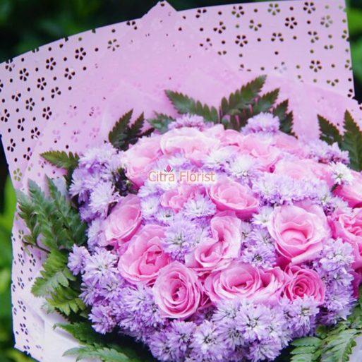buket tangan mawar pink citra florist