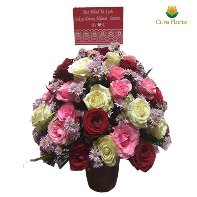 (SBY) Buket Meja Segar Round Mix Roses