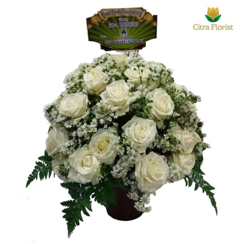 (SBY) Buket Meja Segar Round White Roses