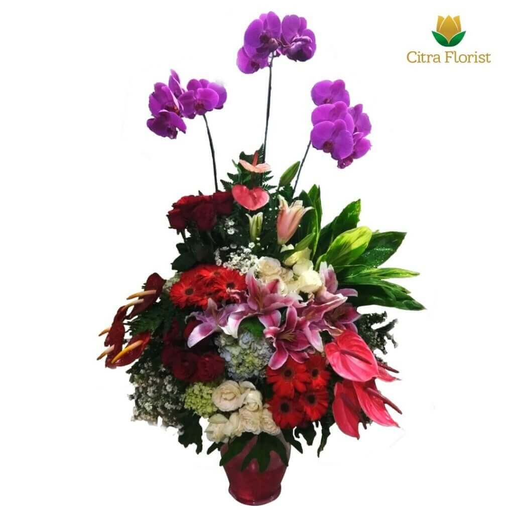 (SBY) Buket Meja Segar Round Lily, Orchid and Roses