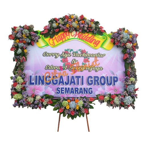 bunga papan banner WEDDING letter u mahkota pita sterofoam citra florist
