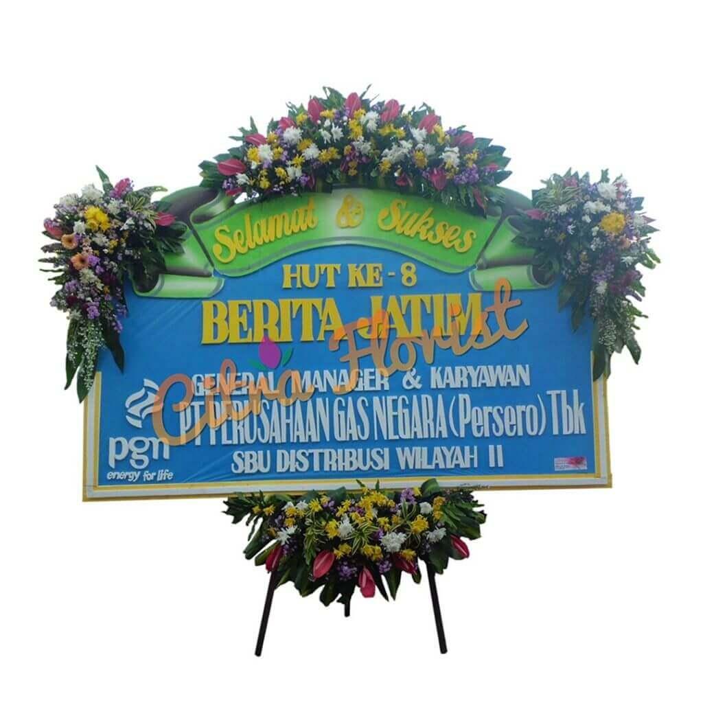 Flowerboard Congratulation Sterofoam 2.5 Meter 3 Spots Flowers and Crown