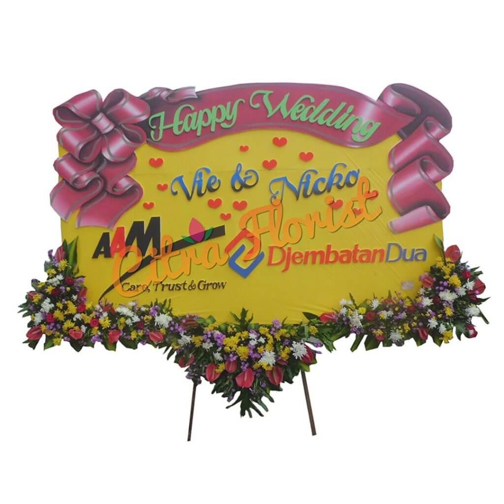 (SDA) Papan Bunga Happy wedding Sterofoam 2.5 Meter,  Bunga 3 Titik Bawah & Pita Sterofoam
