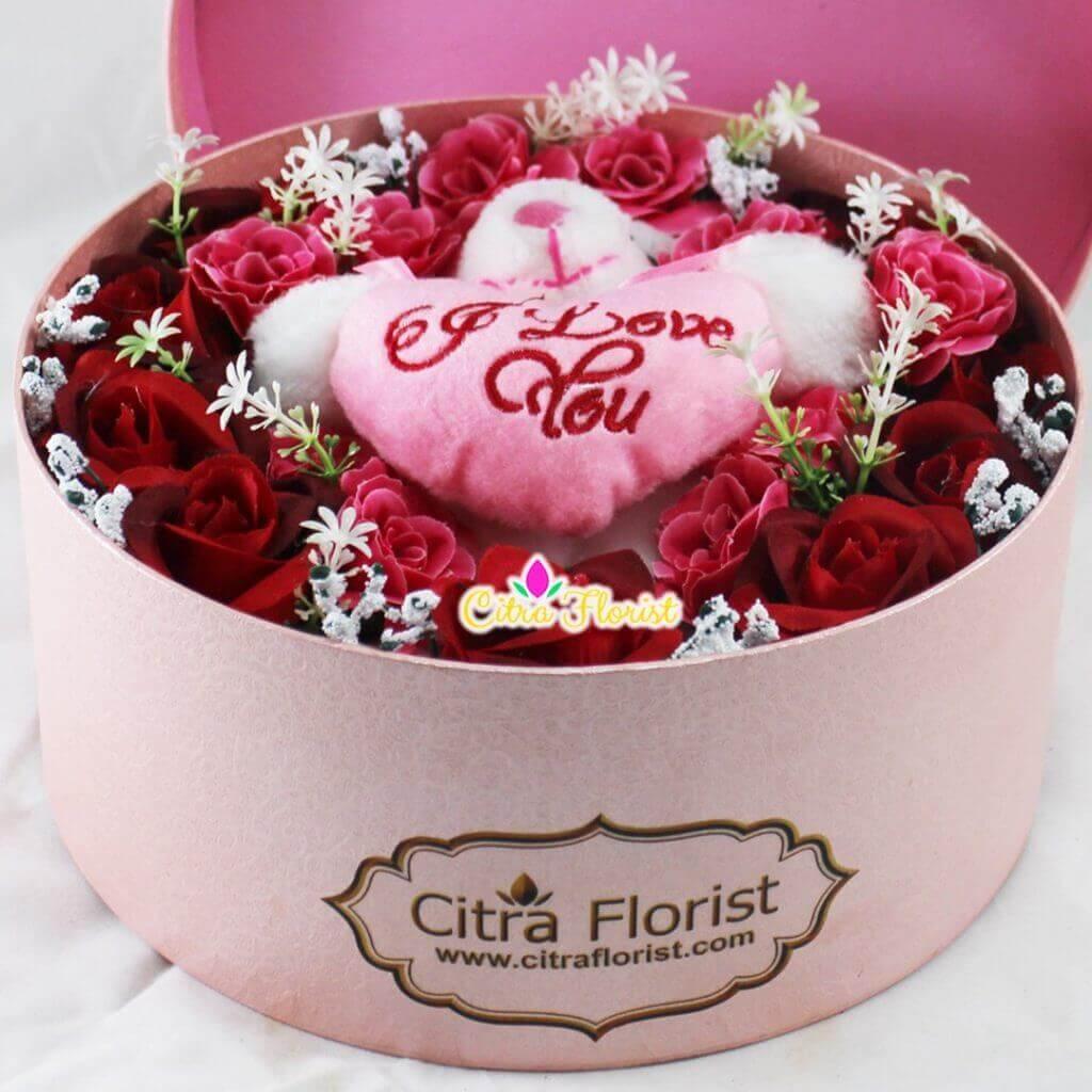 Artificial Flowerbox Sleeping Round Pink