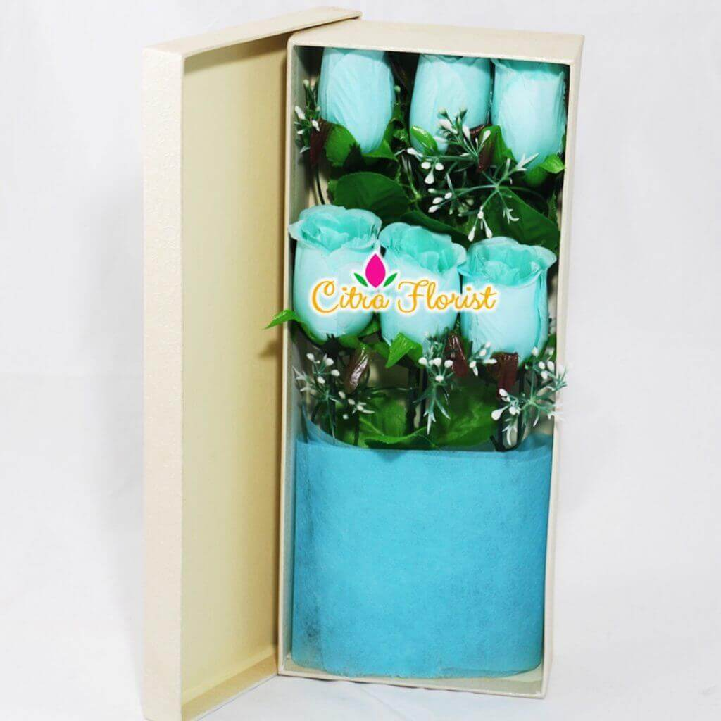 Artificial Flowerbox Blue Roses Rectangle White