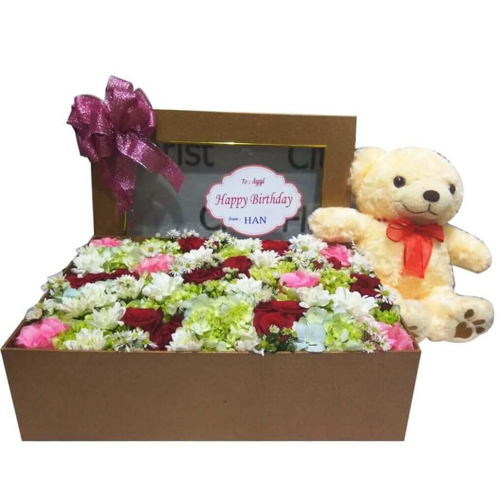 Fresh Flowerbox Mix Fleur Big Square Brown