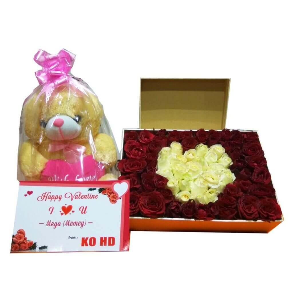 Fresh Flowerbox Roses Love Cream