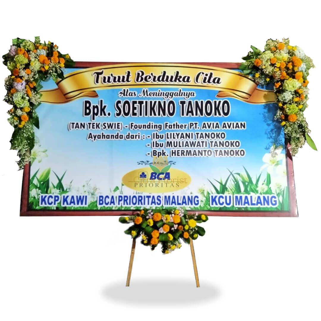 (SBY) Papan Bunga Duka Cita Banner 3 Meter, Bunga 3 Titik (Kanan Kiri Atas 1 Bawah)
