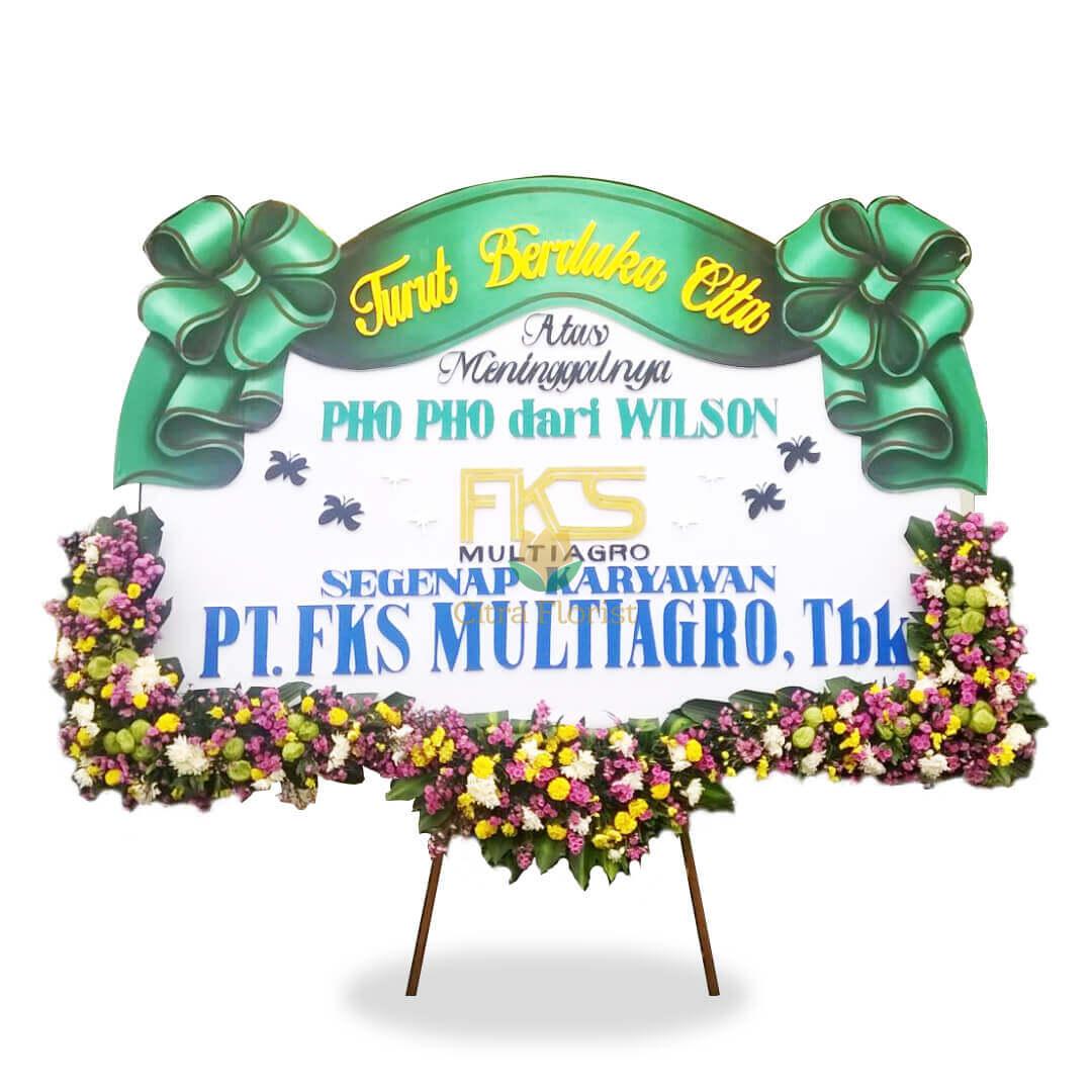 (SDA) Papan Bunga Duka Cita Sterofoam 2.5 Meter, Bunga 3 Titik Bawah & Pita Sterofoam
